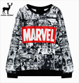 Cotton Pulloverfor Marvel printing harajuku sweatshirt O neck Black sweatwear women EXO kpop hip hop bts adventure time hoodies