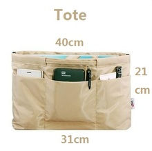 Сумочка сумка в мешок Организатор Вставка Организатор Tidy Путешествия косметической карман, молния, коричневый, бизнес(China)
