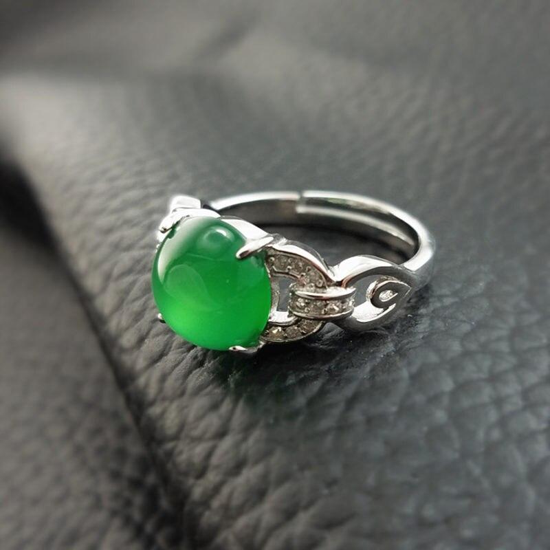 Винтаж элегантный зеленый камень оникс кольцо для Для женщин 100% реального стерлингового серебра 925 группа набор камень cz Женский Ювелирные ...
