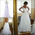 Cheap Vestido De Noiva Renda Applique Cap Sleeve Floor Length Wedding Dress 2017 See Though Back Sexy Bridal Dress