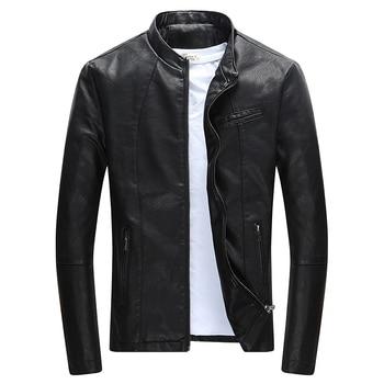 Automne hiver hommes décontracté Zipper PU veste en cuir moto veste en cuir hommes loisirs vêtements hommes mince veste en cuir