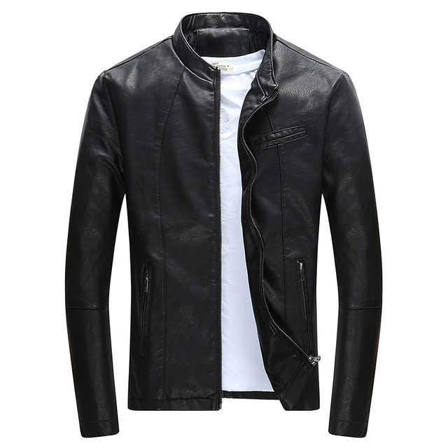 Autumn Winter Mens Casual Zipper PU Leather Jacket  Motorcycle Leather Jacket Men Leisure Clothing Mens Slim Leather Jacket
