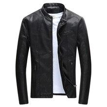 Chaqueta de cuero PU con cremallera para hombre, chaqueta informal de cuero para motocicleta, ropa de ocio, chaqueta de cuero ajustada