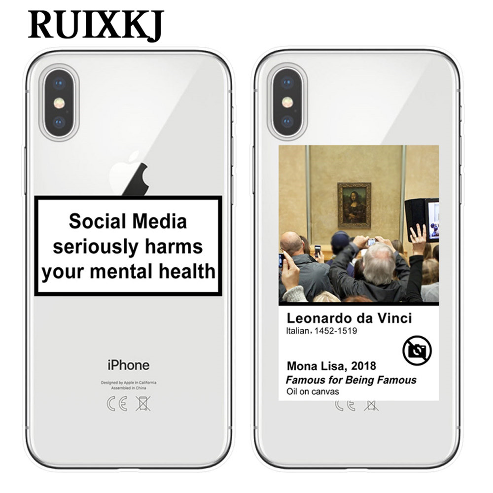 Social Media seriously harms your mental health phone case for iPhone X XR XS MAX 5S SE 6 6s 7 8 plus Funny Mona Lisa Soft Cover image