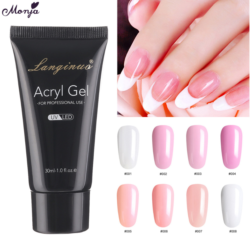 Monja 30ml Nail Art Fast Dry Soak Off Acrylic UV Extension Poly Gel Crystal Tips Builder Manicure Tools
