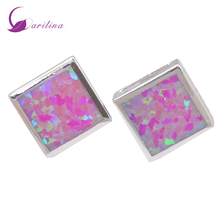 hot deal buy fashion bijoux square pink fire opal 925 sterling silver jewelry women's earrings cute tortoise fashion jewelry e291