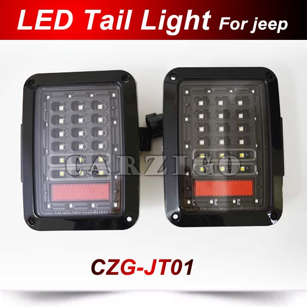 CZG-JT01 European version Black LED Tail Light For Jeep Wrangler LED taillight for Jeep 4X4 Offroad Red Taillight 2007-2016 12V 2016 01