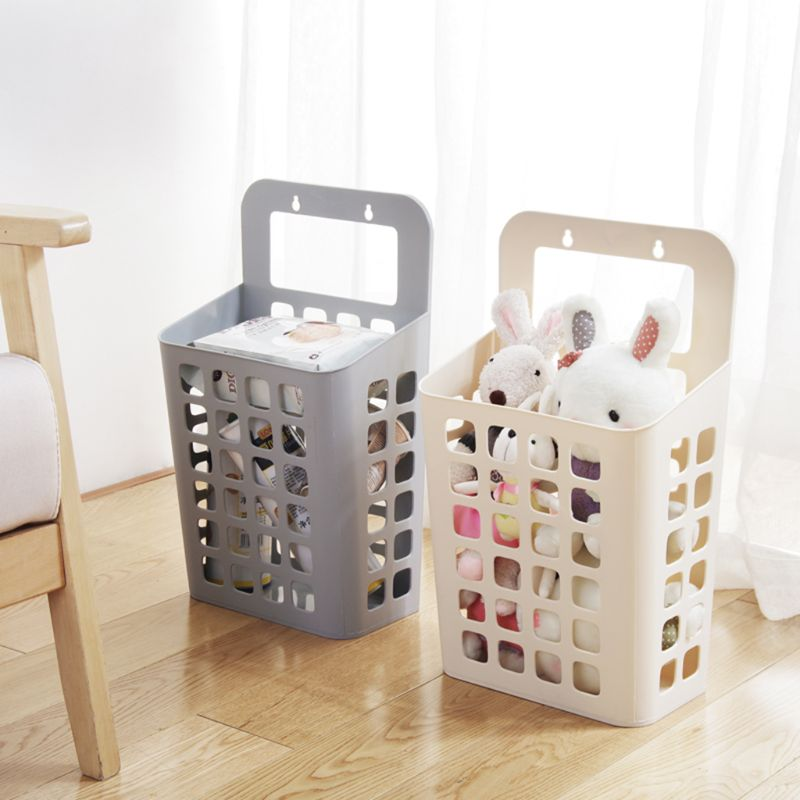 Plastic Hanging Laundry Basket Dirty Clothes Casket Toys Storage Sundries Organizer Bin Container Box With Handle Sticky Hooks