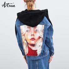 Artsnie character print denim women sweatshirt spring 2019