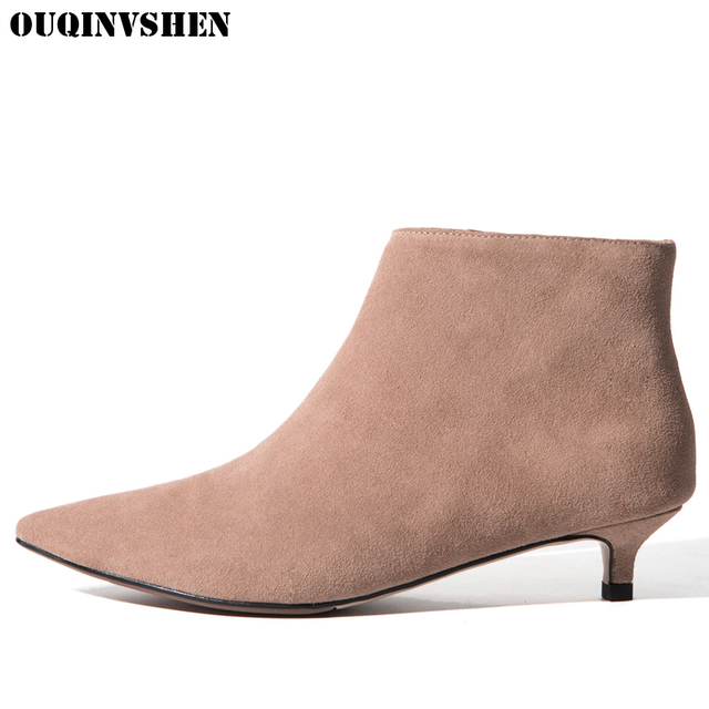 OUQINVSHEN Rivet Pointed Toe Boots Casual Fashion Women Ankle Boots Spike Heels Black High Heels Ladies Girl Thin Heels Boots