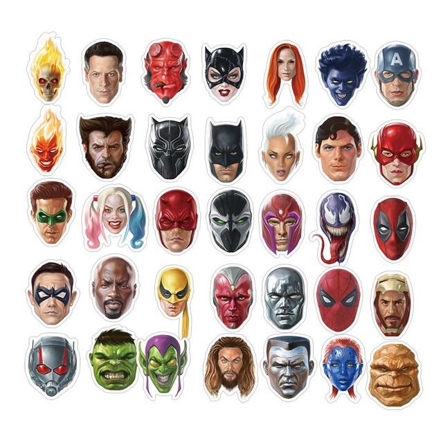 50 шт. персональный Новый Marvel голова супер наклейки герои водонепроницаемый чемодан сумка для компьютера граффити наклейки