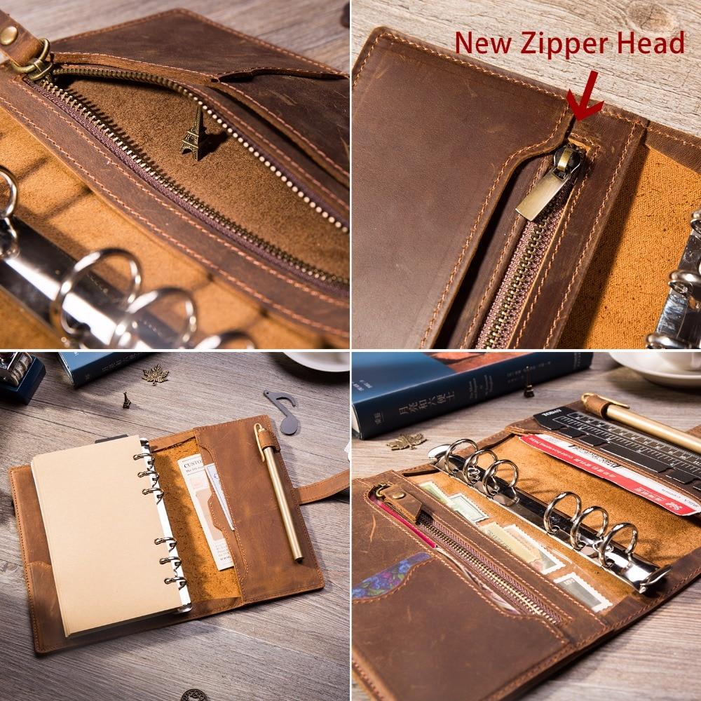 Multifonctionnel Vintage en cuir Design carnet de voyage Journal journal Journal fait à la main 2019 balle journal planificateur bloc-notes a5 - 3