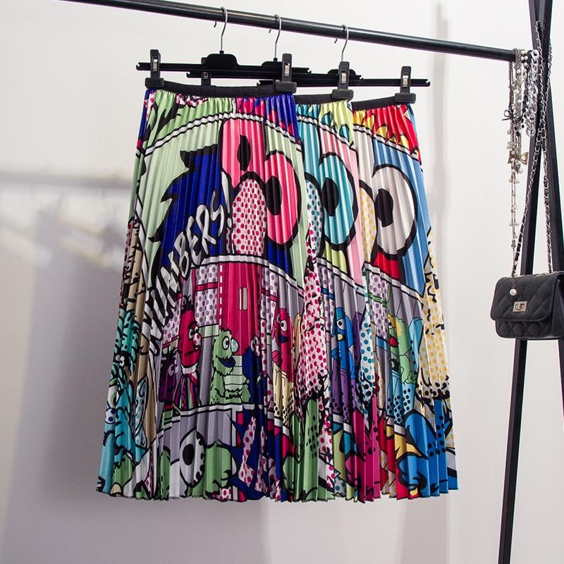 Qooth Girls Fashion Skirt Cartoon Animal Patterns Elastic Waist Pleated Skirt 2019 Spring New Women's Printing Skirts QH1745
