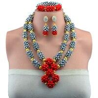 2017 Nova Hot Sales Casamento Nigeriano Beads Africanos Jóias Define Dubai Conjuntos de Jóias de Ouro-cor Traje Romântico Projeto Longo