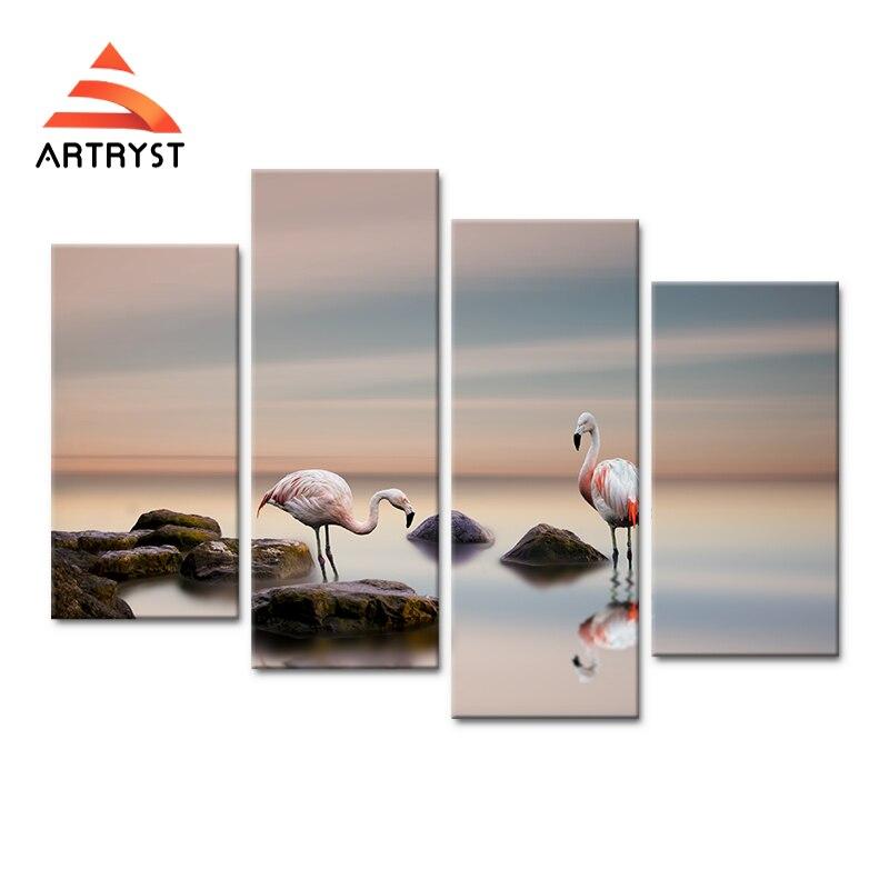 4 패널 모듈 형 아트 벽 2 플라밍고 캔버스 그림 포스터 HD 인쇄 캔버스 현대 홈 cuadros 장식 거실