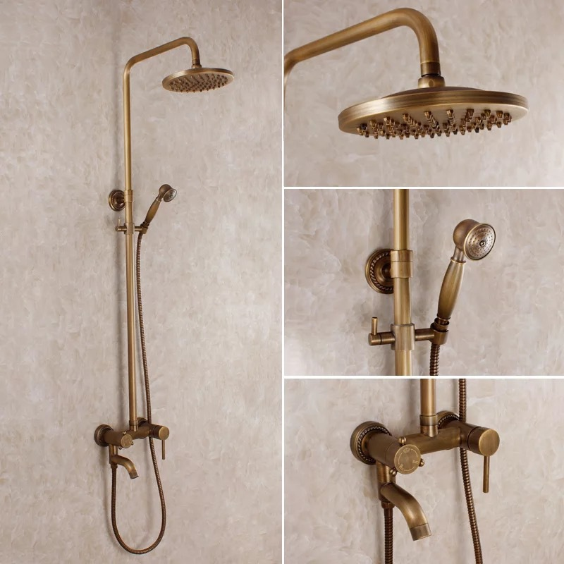Bronze shower brass shower faucet set single ceramic antique brass shower head antique shower Antique brass faucet bathroom