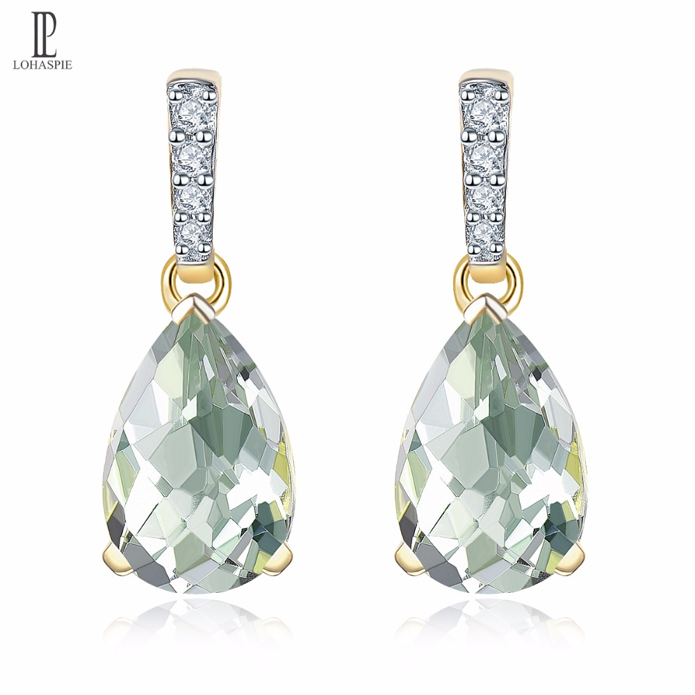 Natural 2.68ct Green Amethyst Gold Engagement Earrings Diamonds Solid 14K Drop Fine Fashion Gemstone Jewelry For Gift Lohaspie jewlery sets vintage solid 14k white gold green amethyst diamond earrings for women fine amethyst jewelry