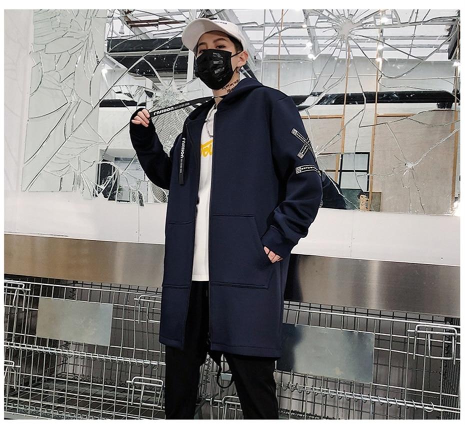 HTB1qywTK4naK1RjSZFtq6zC2VXau Long Jacket Men Print Fashion 2019 Spring Harajuku Windbreaker Overcoat Male Casual Outwear Hip Hop Streetwear Coats WG198
