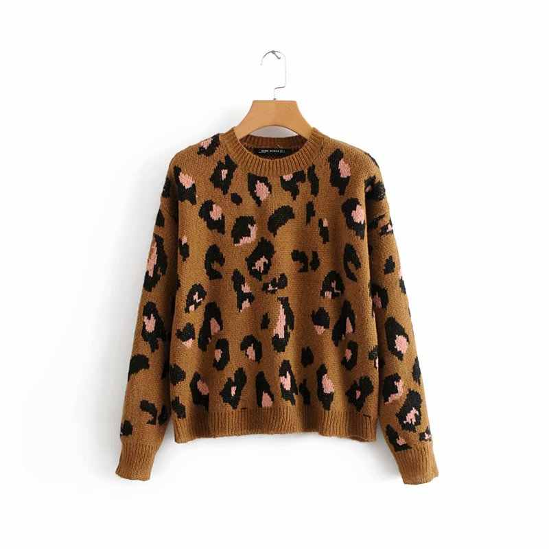 women fashion vintage leopard printing knitting casual sweater ladies o neck basic sweater femme autumn pullovers chic tops S029
