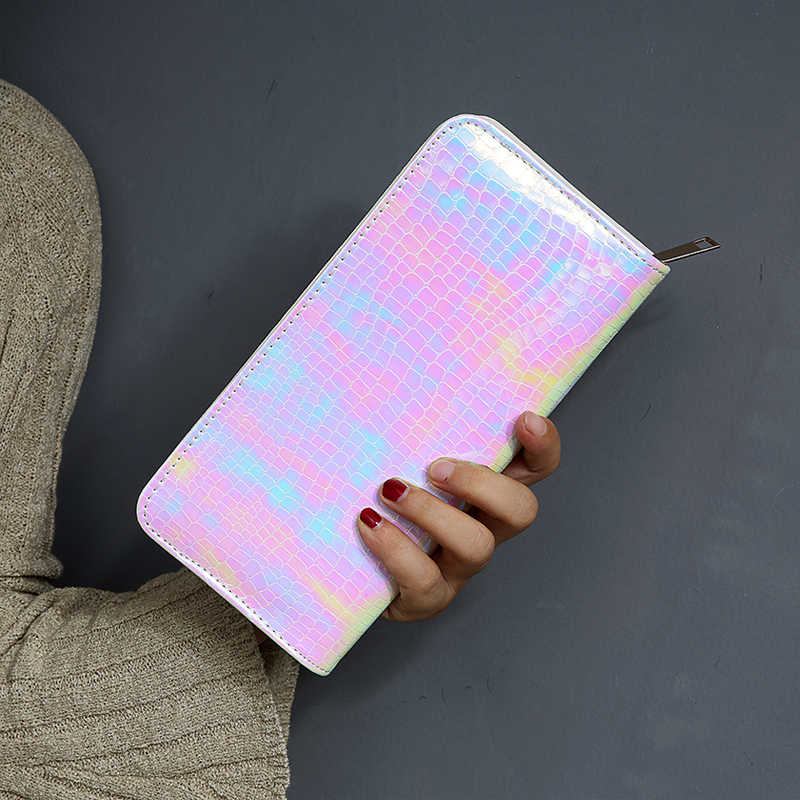 Luxury Alligator Leather Women's purse Long Money Wallet Pink Holograms Clutch Bag Large Capacity Bank Card Holder Coins Purse