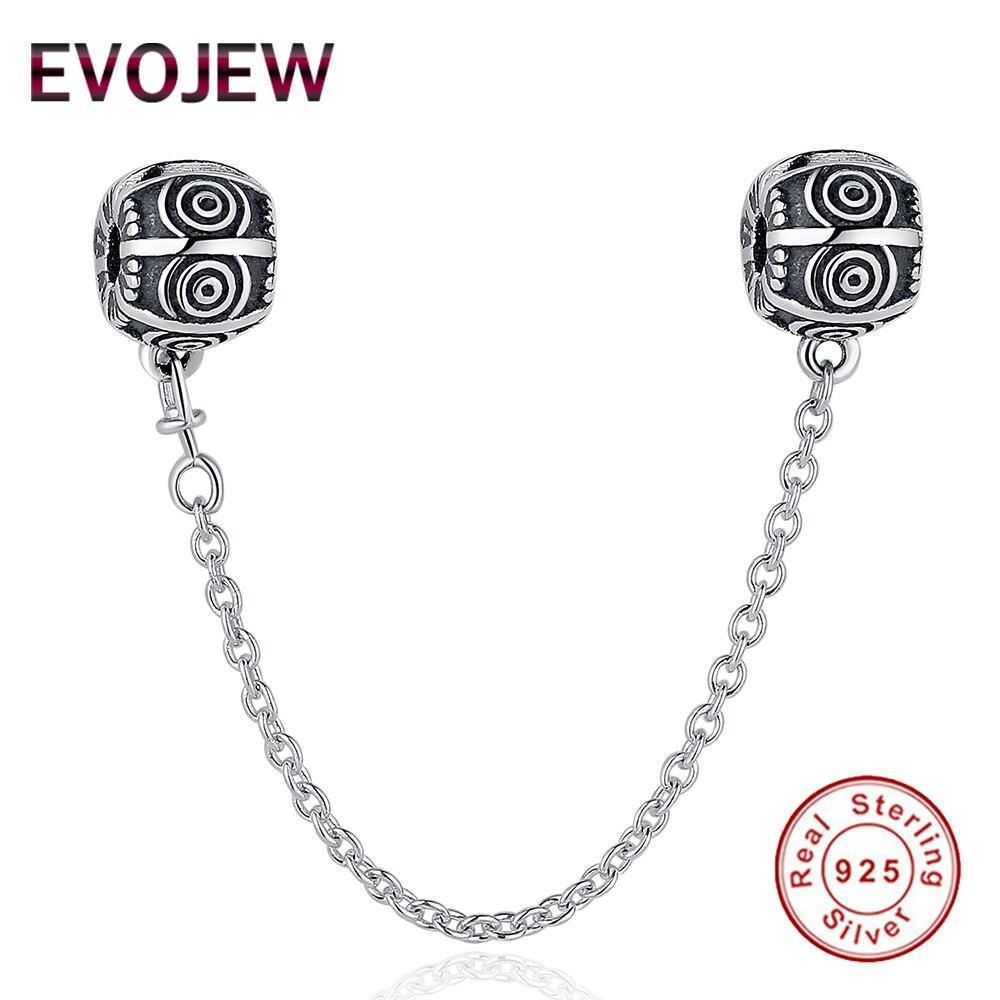 Genuine 925 Sterling Silver Vintage Pattern Safety Chain