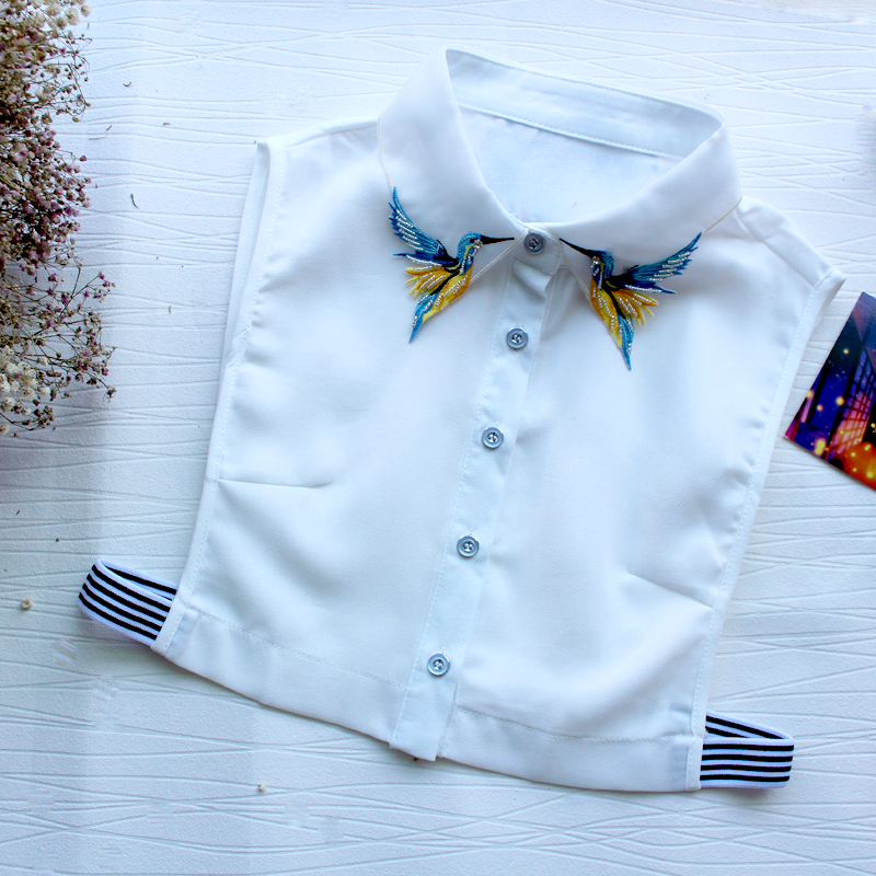 Sweater Detachable Collar Top Clothes Accessories Women Shirt Fake Collar Fashion Embroidery Necklace Chiffon Blouse Collar
