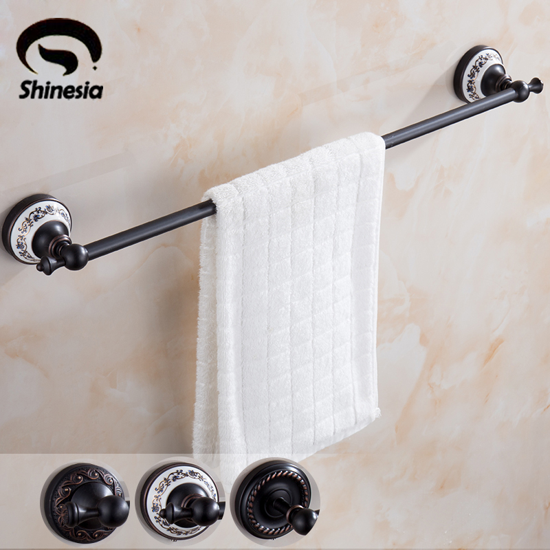 High Quality Oil Rubbed Bronze Bathroom Single Towel Bars Solid Brass Towel Rack Wall Mounted luxury artistic towel bar single towel holder wall mounted bathroom towel rail rod oil rubbed bronze finish