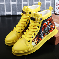 CuddlyIIPanda New Luxury Brand Men Fashion High Top Sneakers Print Tiger Casual High Shoes Male Hip Hop Comfort Leisure Shoes