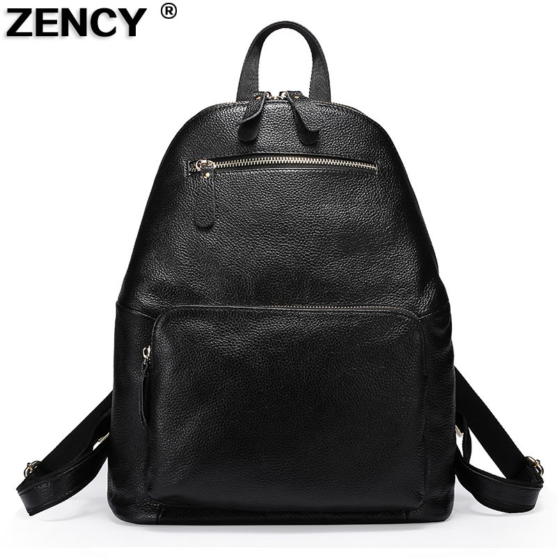 ZENCY 100 Real Soft Cowhide Genuine Cow Leather Women s Backpack First Layer Cow Leather Female