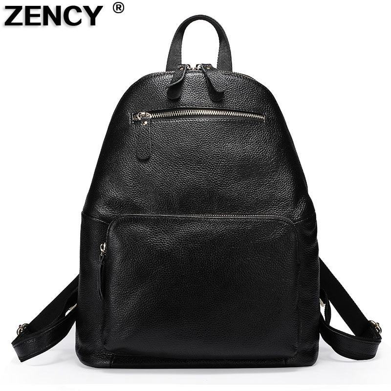 ZENCY 100% จริงนุ่มธรรมชาติผู้หญิงหนังแท้กระเป๋าเป้สะพายหลังชั้นแรกหนังวัวหญิงสตรีเป้กระเป๋าเดินทางกระเป๋า