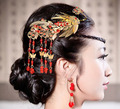 Wholesale Bridal tassels Hair Comb Vintage Peacock Desogns Wedding Cheongsam Hair Accessories Chinese style red jewelry