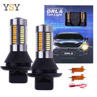 2PCS Dual Color 1156 BA15S/BAU15S P21W PY21W T20 7440 LED Bulbs Turning Lights 66SMD White Amber/ice bule Error Free Canbus DRL