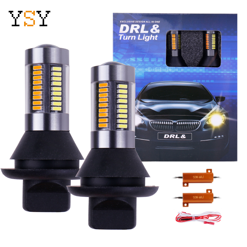 2PCS Dual Color 1156 BA15S/BAU15S P21W PY21W <font><b>T20</b></font> <font><b>7440</b></font> <font><b>LED</b></font> Bulbs Turning Lights 66SMD White Amber/ice bule Error Free Canbus DRL image