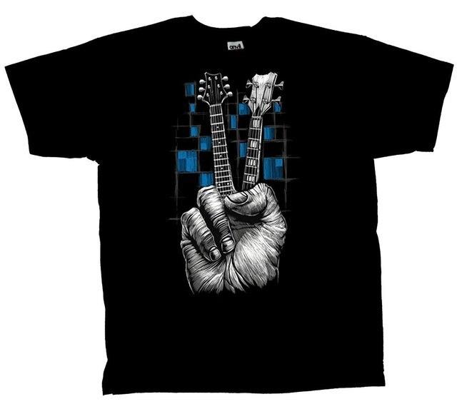 Camiseta de la guitarra No se Preocupe Dedos de Paz camisetas divertidas Inconformista Del O-cuello fresco tops Tee