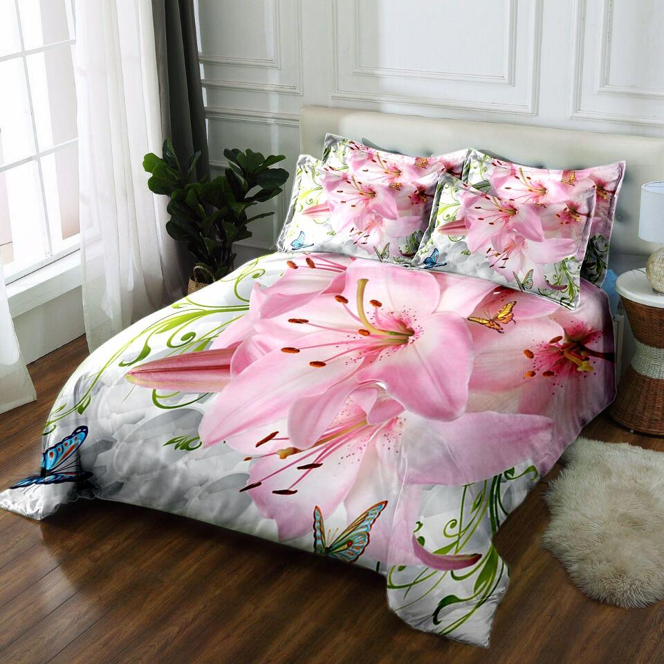 Pink flower 3D bedding set Twin Queen California King bed cover Double Bed set bedsheet Duvet Cover Pillowcase king size Pink flower 3D bedding set Twin Queen California King bed cover Double Bed set bedsheet Duvet Cover Pillowcase king size