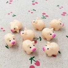 10 peças kawaii plana volta flatback resina porco fada jardim miniaturas estatuetas terrário diy artesanato decorativo para casa de bonecas: 20mm
