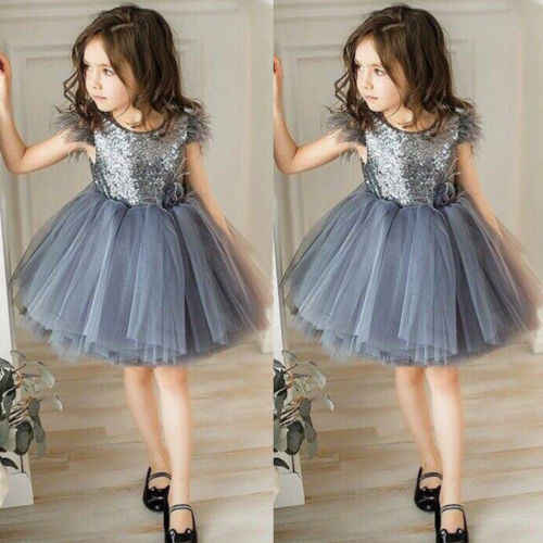 e75fa1c60955f ... New Summer Baby Girl Princess Grey Sequin Dress Kid Girl Sleeveless  Tutu Wedding Party Ball Gown ...