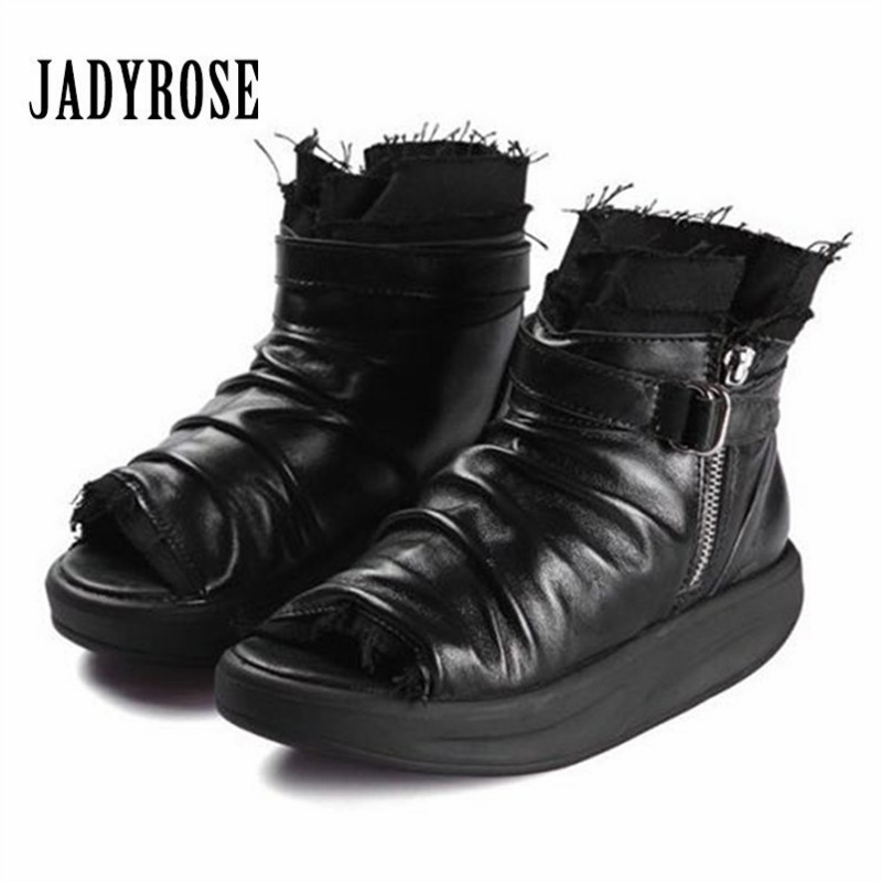цены на Jady Rose Peep Toe Women Summer Boots Soft Leather Platform Sandals Casual Gladiator Sandal Ankle Booties Wedges Sneakers в интернет-магазинах