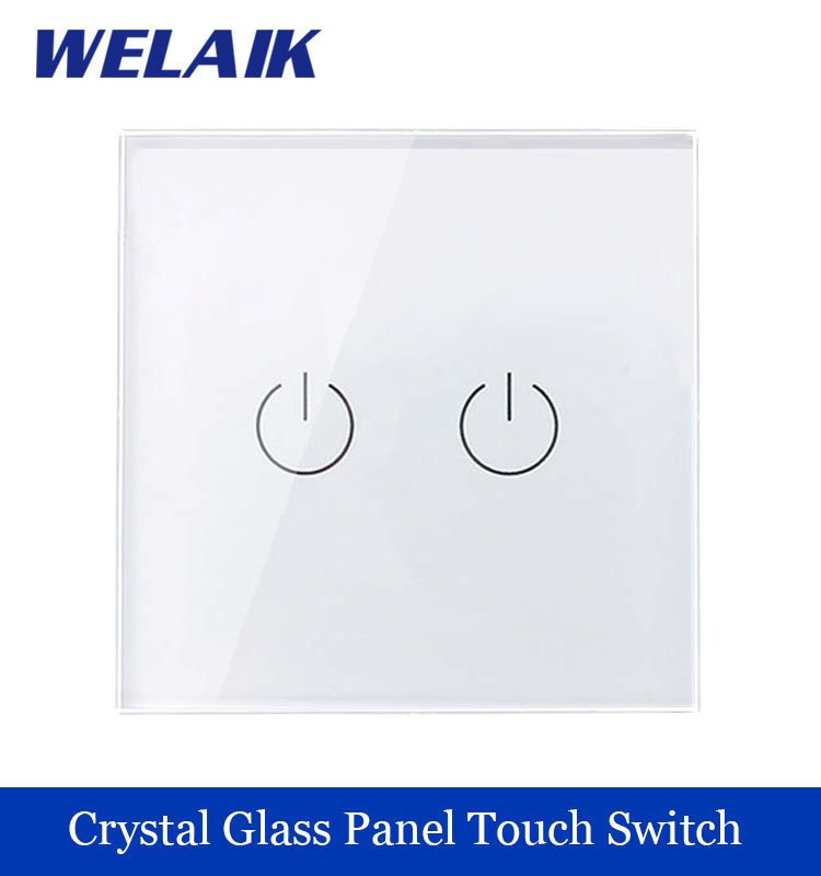 WELAIK Crystal Glass Panel Switch White Wall Switch EU Touch Switch Screen Wall Light Switch 2gang1way AC110~250V A1921W/B welaik crystal glass panel switch white wall switch eu remote control touch switch light switch 1gang2way ac110 250v a1914xw b