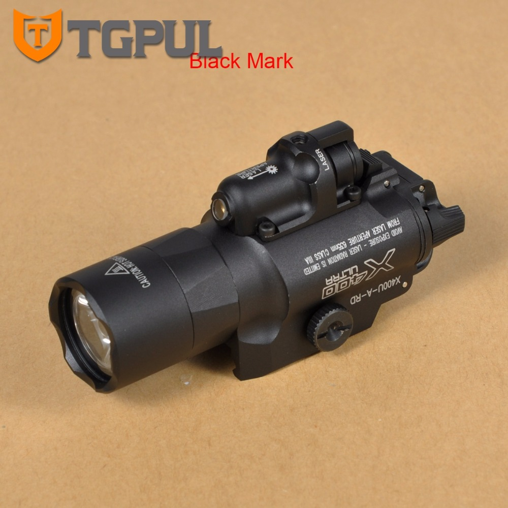 TGPUL Best SF X400U ULTRA LED Flashlight Tactical Light Weapon Handgun Light With Red Laser Sight For Pistol for Hunting tgpul tactical x400 gun light led flashlight for pistol handgun laser combo light hunting scout torch for weaver picatinny rail