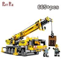 665pcs Education Machine Crane Car Bricks Assemble Learning Building Blocks For Children Toys Compatible Legoing Technic Bricks