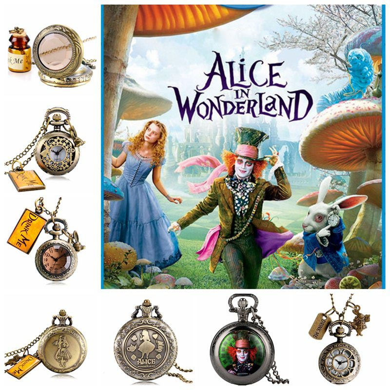 Alice In Wonderland Mad Hatter Rabbit Drink Me Tag Quartz Pocket Watch Dark Brown Glass Necklace Pendant Gifts For Women Girls