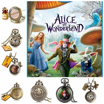 Alice in Wonderland Mad Hatter Rabbit Drink Me Tag Quartz Pocket Watch Dark Brown Glass Necklace Pendant Gifts for Women Girls alice in wonderland necklace fashion bronze chain women rabbit drink me tag quartz pocket watch retro vintage cute gift