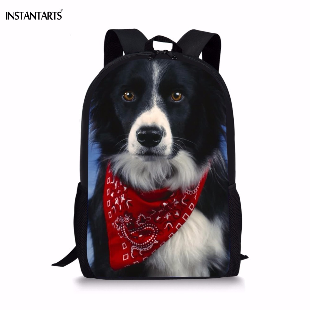 INSTANTARTS Funny Chidren School Bags for Boy Girl Cute Dog Border Collie Print Student Backpack Travel Lap Top Kids School Bag