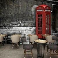 مخصص جدارية الحنين الرجعية البريطانية نمط الأحمر الهاتف بوث 3d جدارية خلفية التلفزيون خلفية مطعم مقهى الممر