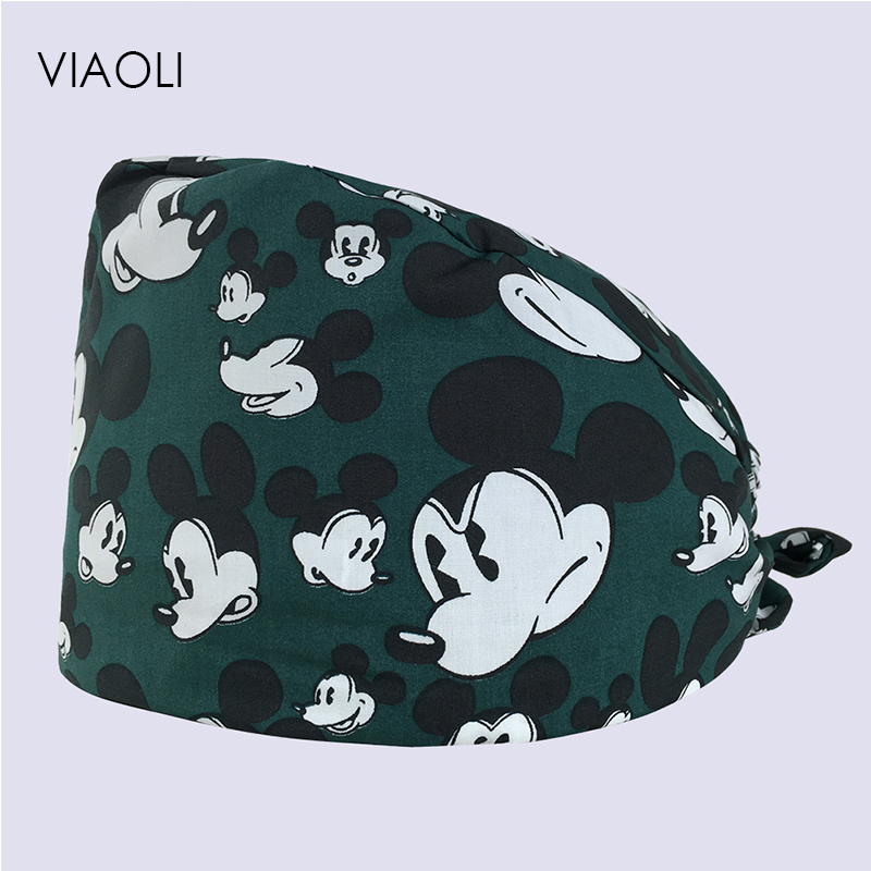 Viaoli Cotton Surgical Caps Scrub Caps For Women And Men Hospital Medical Hat Print Cat In Green Tieback Elastic Section Dentist