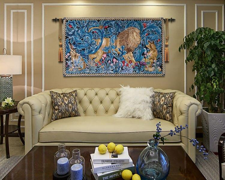 82x140cm trabajo de guillotín Rey León tapiz decorativo para colgar en la pared decoración marroquí de Bélgica alfombra de algodón - 2