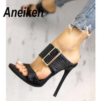 Aneikeh 2020 Fashion Sexy Gladiator Summer  PU Women Sandals Thin High Heels Slip-On Opinted Toe Black Dress Size 35-40