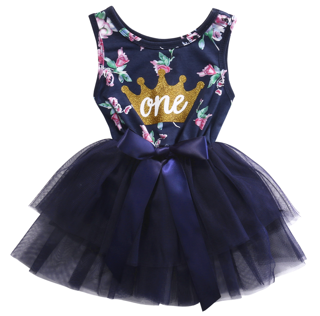 2017 new arrival Summer Newborn Infant Baby Girl clothes Princess Sundress Floral Crown Print Tulle Tutu Ball Gown Party Dresses