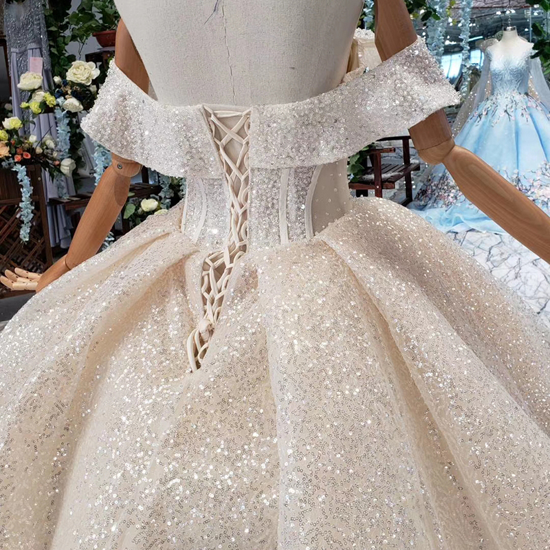 Image 4 - HTL432 shiny wedding dresses with glitter off the shoulder special neck sparckly wedding gowns 2019 new fashion robe de mariee-in Wedding Dresses from Weddings & Events